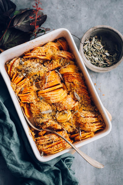 Sage-Infused Savory Sweet Potato Casserole (Vegan and Gluten-Free)   Hello Veggie #sweetpotatocasserole