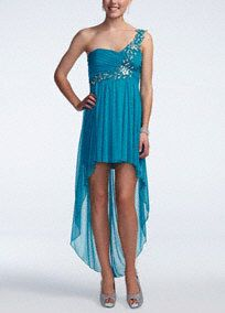 Bring on the glitz and glam in this enchanting beaded high low prom dress!  One shoulder bodice features beautiful intricate beading on strap and bust.  Empire waist helps shape a flattering silhouette.  High low hemline creates dimension and a fun, flirty feel.  Fully lined. Back zip. Imported polyester. Dry clean.