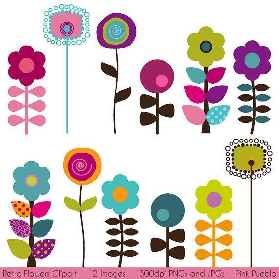 Retro Flower Clipart Clip Art Vintage Flower Clip Art Clipart Etsy Clip Art Freebies Retro Flowers Flower Clipart