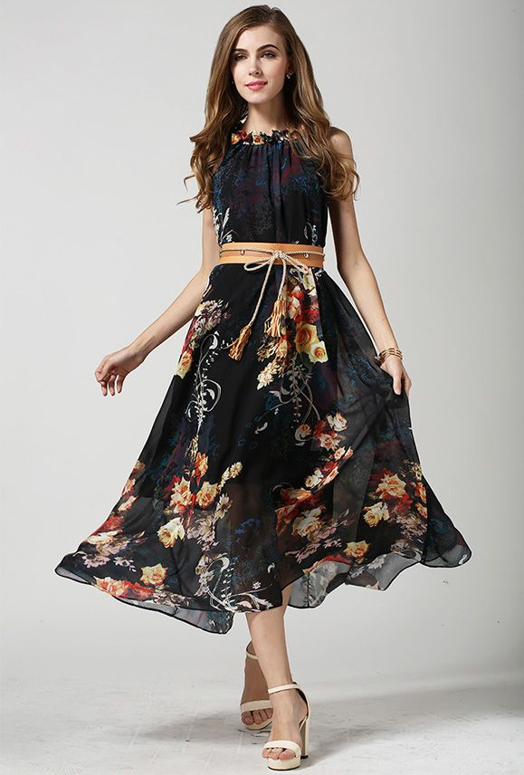 ärmelloses Kleid Bohemia mit Leibbinde-schwarz 27.79   modest ...