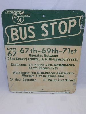 A CTA sign for Bus 67 | Vintage CTA Buses in 2019 | Chicago