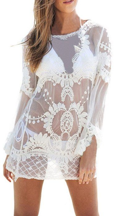 online store 20d93 88c63 La vogue Damen Beachwear Weiß Strandtunika Langarm Bikini ...