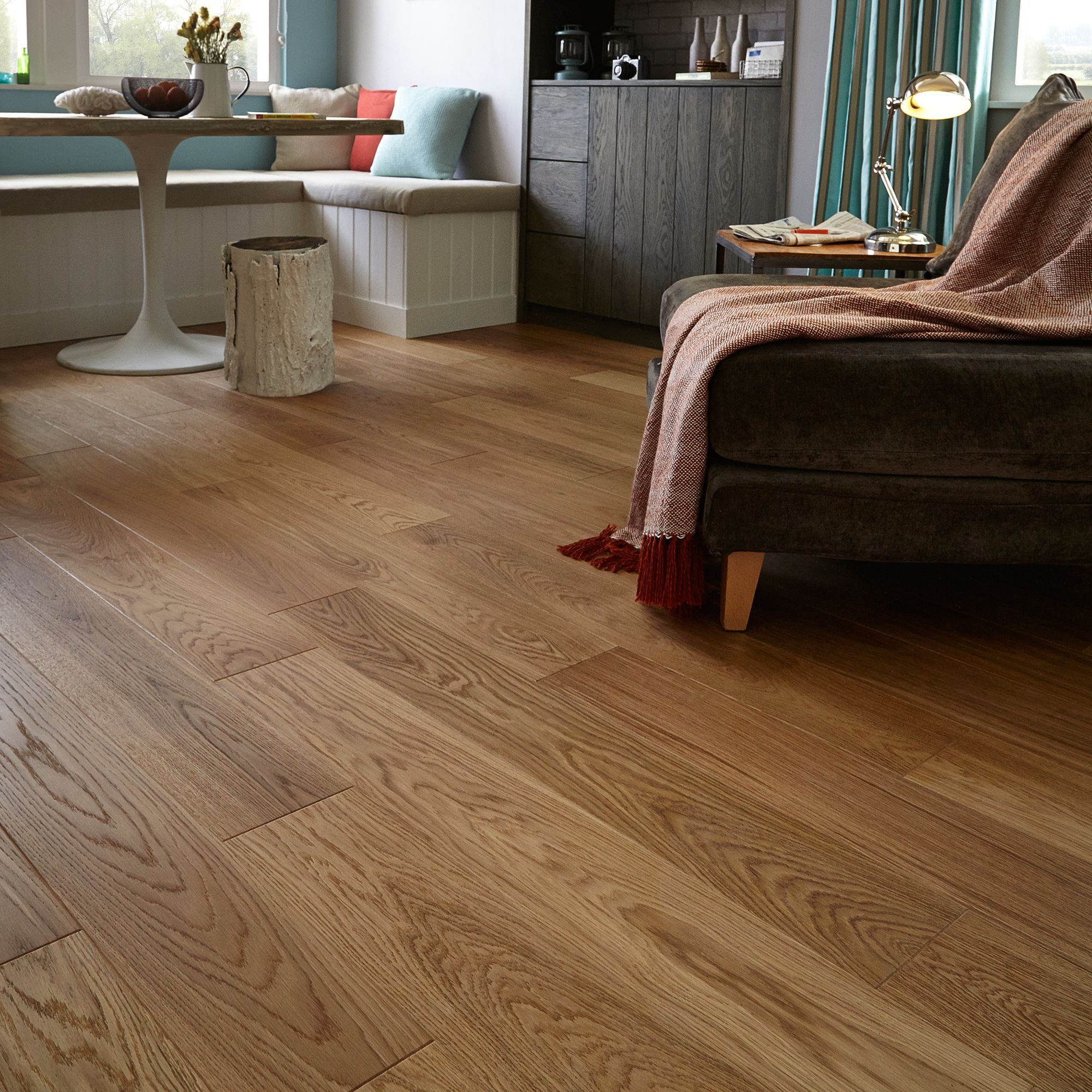 step cadenza natural oak real wood top layer flooring 1 m² pack