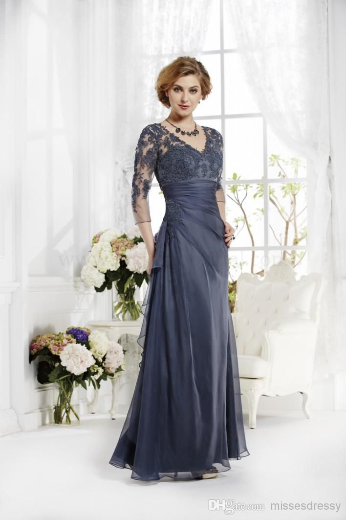 Grey Applique Long Sleeve Simple Elegant Cheap Custom Mother Of The Bride Dresses Zipper Back Floor Length Mothers Dresses Groom Dress Mother Of Groom Dresses