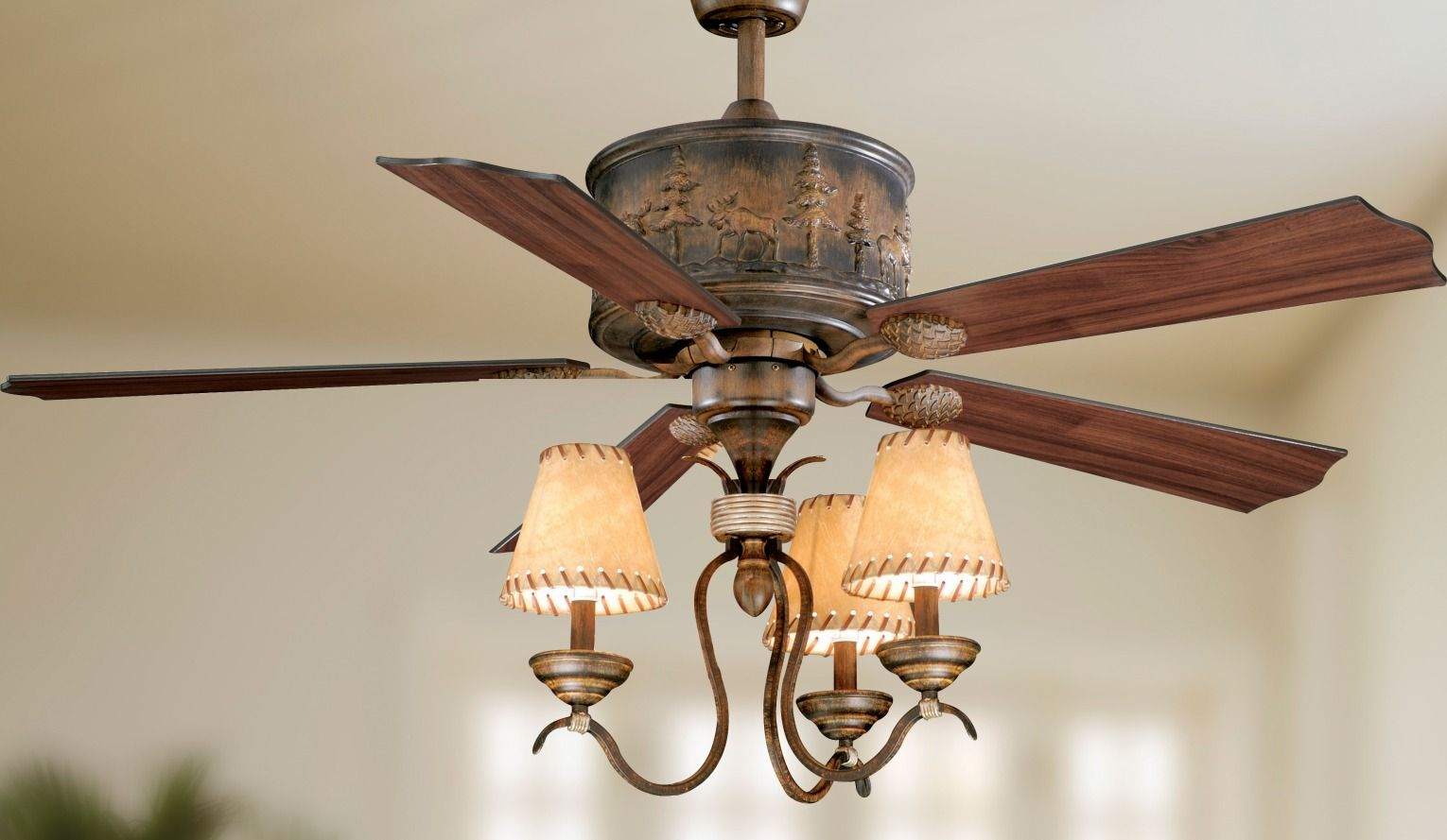 Old World Design Meets New World Technology Designed For Larger Rooms The Yellowstone Ceiling Fan Quietly Circula Ceiling Fan Lighting Ceiling Fans Ceiling