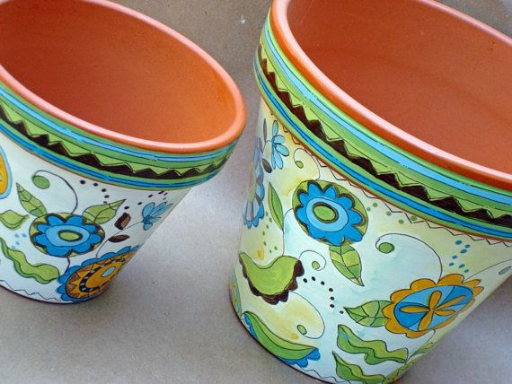 Painted Terracotta Pot  Made to Order by ThePaintedPine on Etsy, $25.00