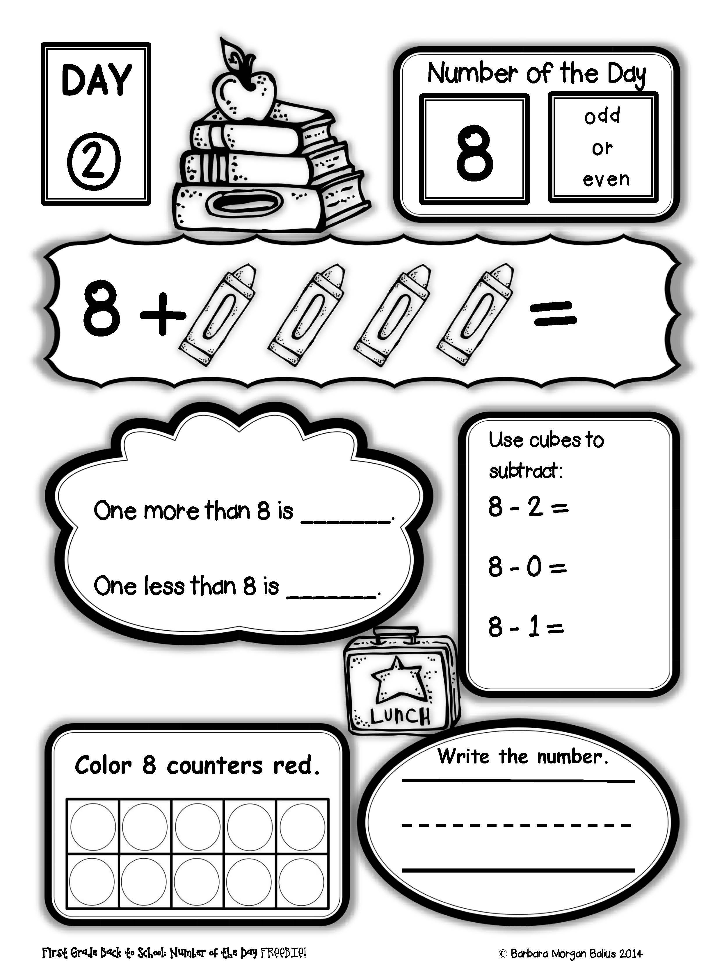 medium resolution of Number Sense FREEBIE Number of the Day Back to School First Grade Practice    First grade