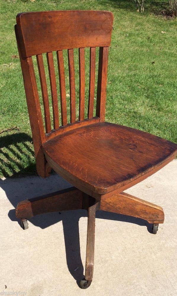 Antique/vintage Oak Wood/cast Iron Swivel Office Desk Chair  Industrial/primitive