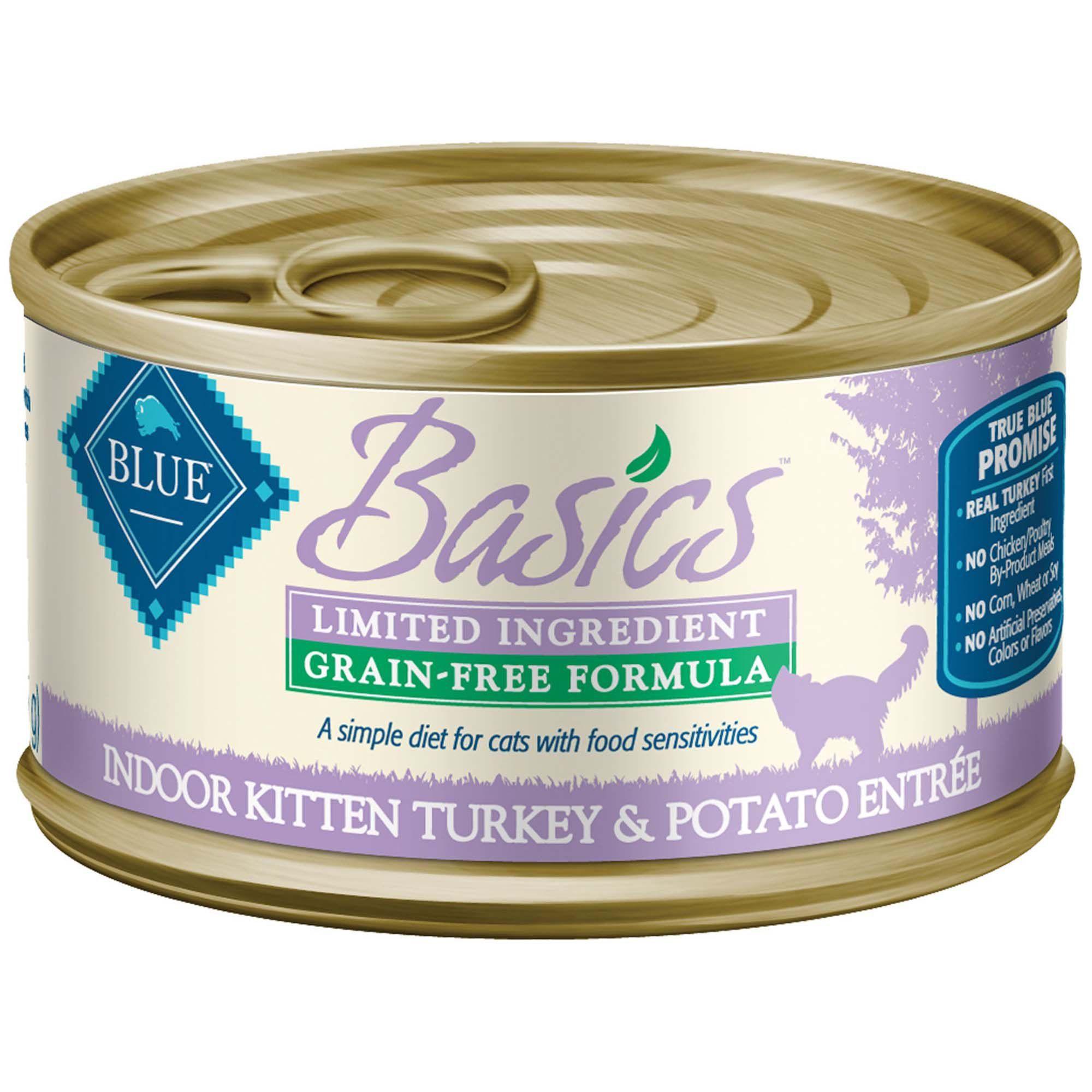 Blue Buffalo Blue Basics Kitten Grain Free Turkey Recipe Entree Wet Cat Food 3 Oz Case Of 24 Canned Cat Food Grain Free Cat Food
