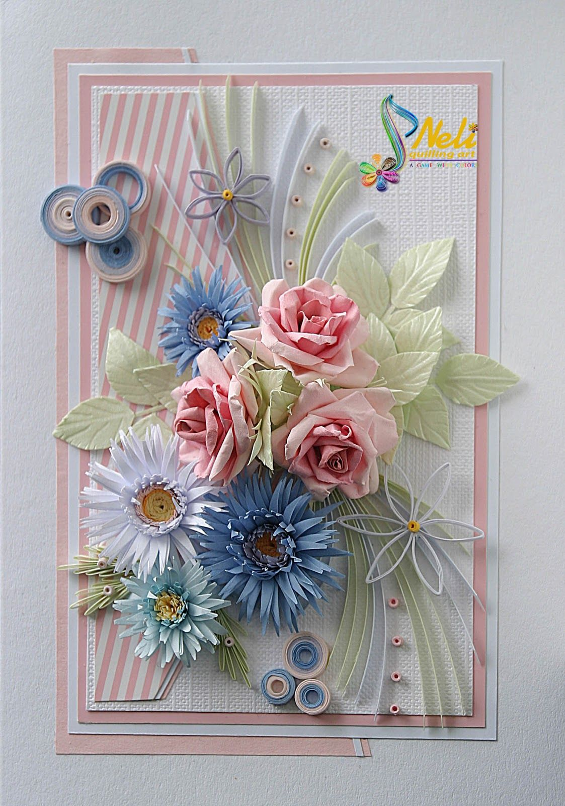 Квиллинг открытка с новорожденной