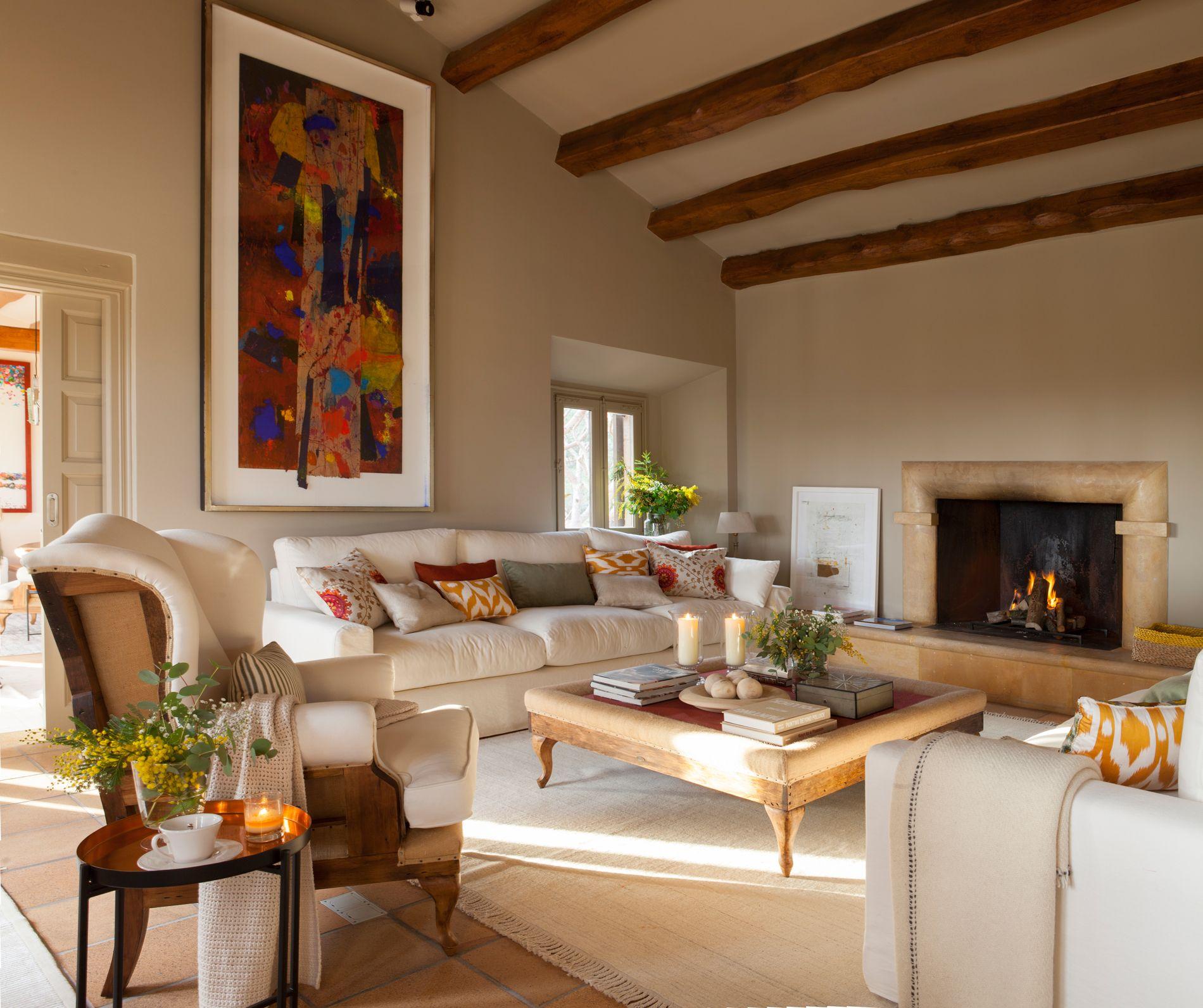 00425530 o living room salon con chimenea salones i - Decoracion chimeneas salon ...