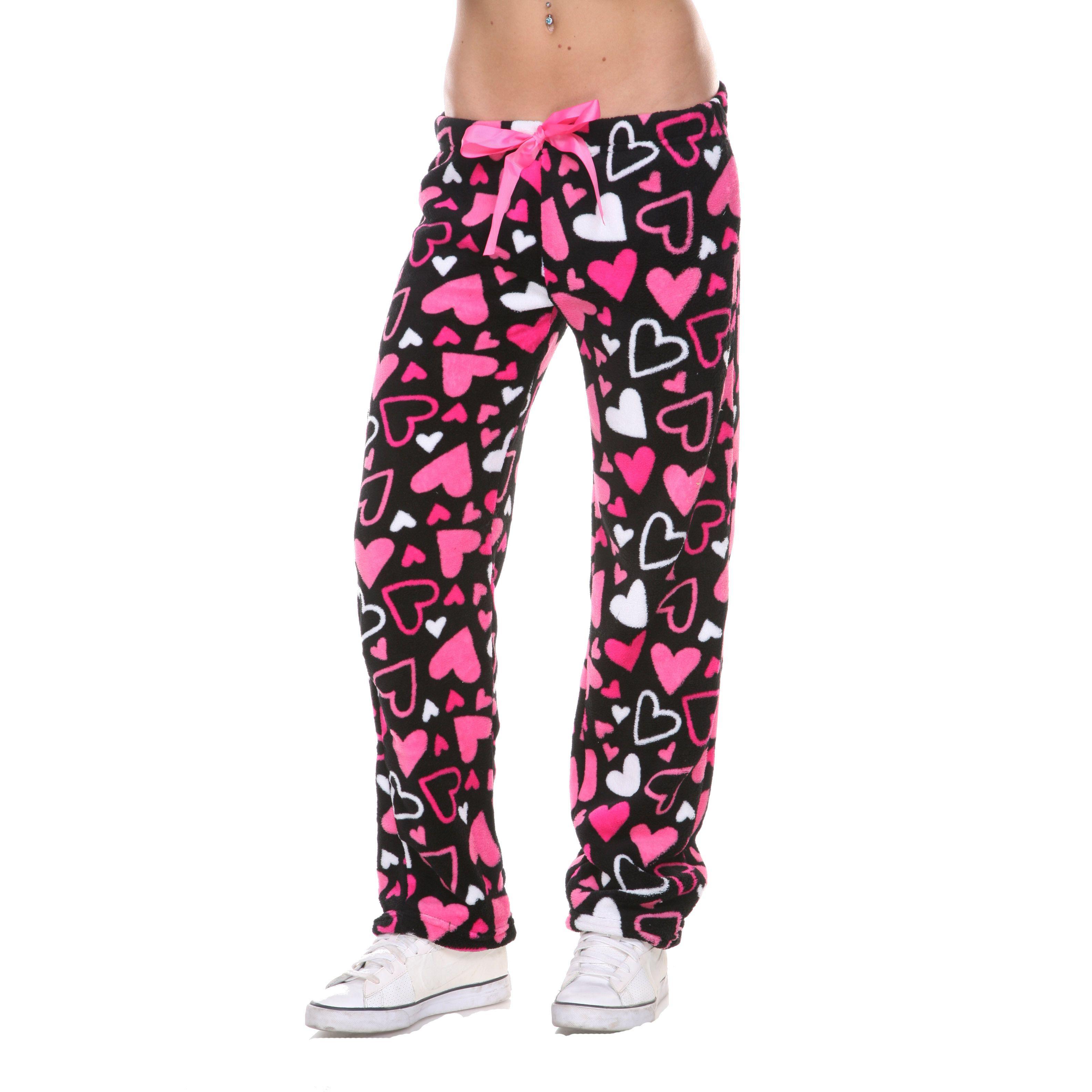 Stanzino Women's Heart Print Plush Lounge Pants