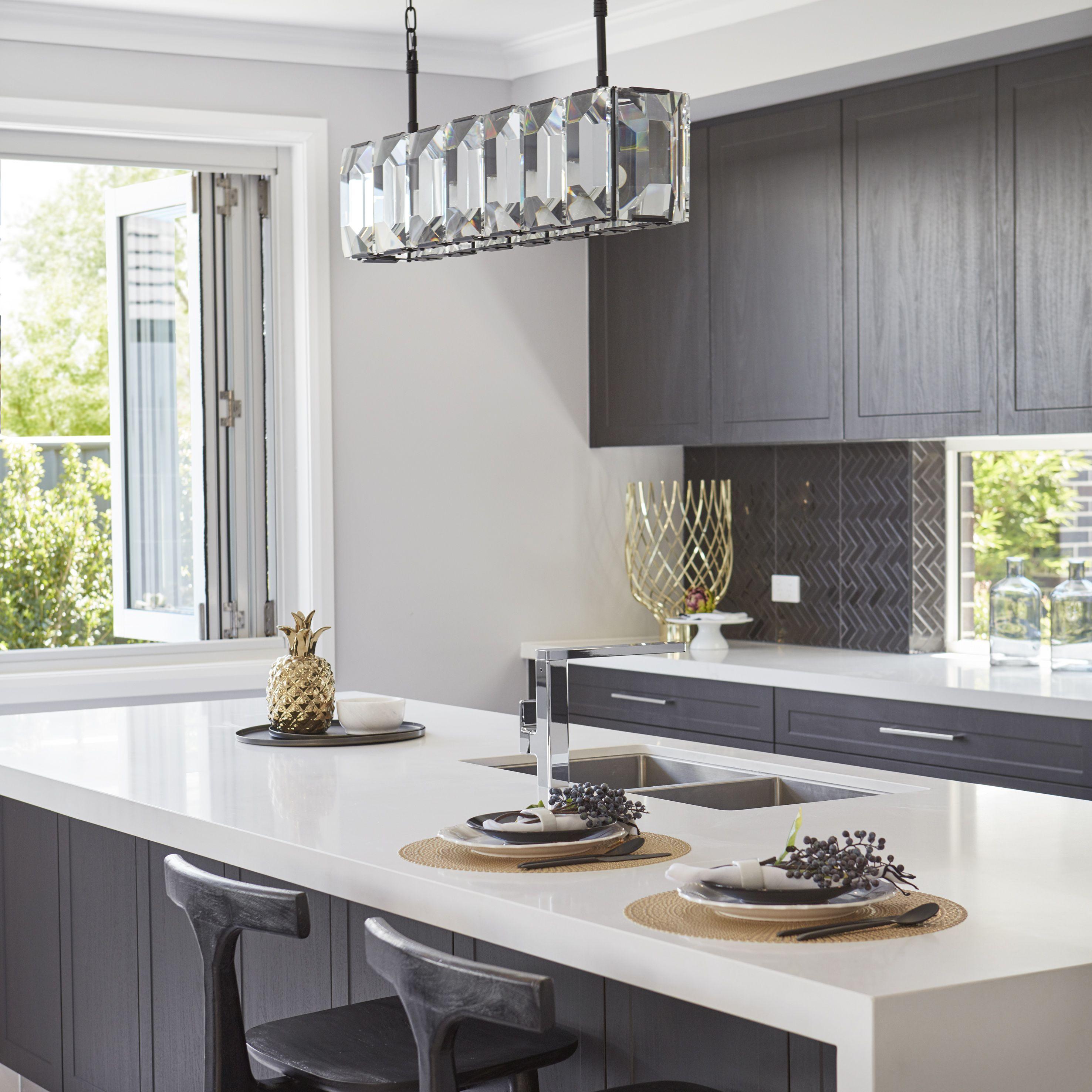 #Kitchen #Breakfastbar #Pendantlight #Kitchenstyling #Greyandwhite #Cupboards #Dreamkitchen