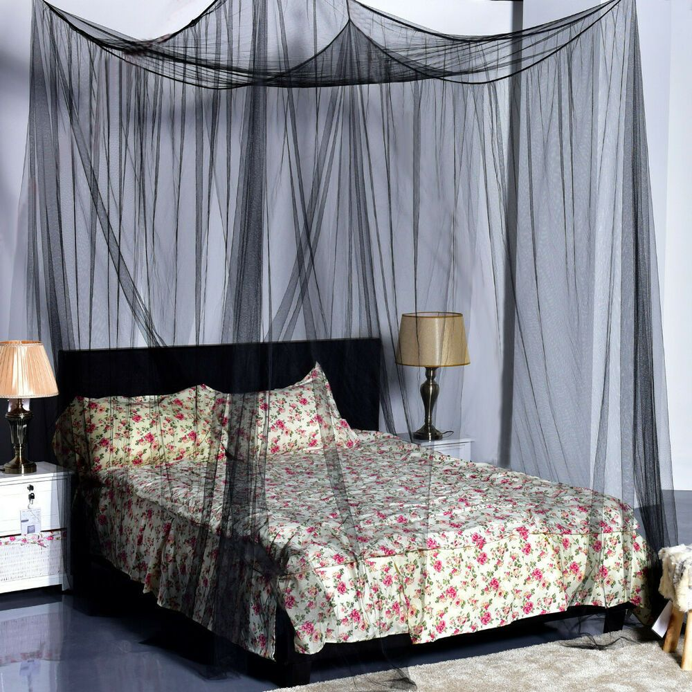 Details About Black Bed Netting Queen King Size Mosquito Net Romantic Decor Canopy 4 Poster In 2020 Black Bedding Black Canopy Beds King Size Bed