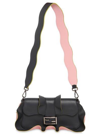 FENDI Fendi Baguette Leather Bag W/ Ruffles, Midnight/Pink. #fendi #bags…