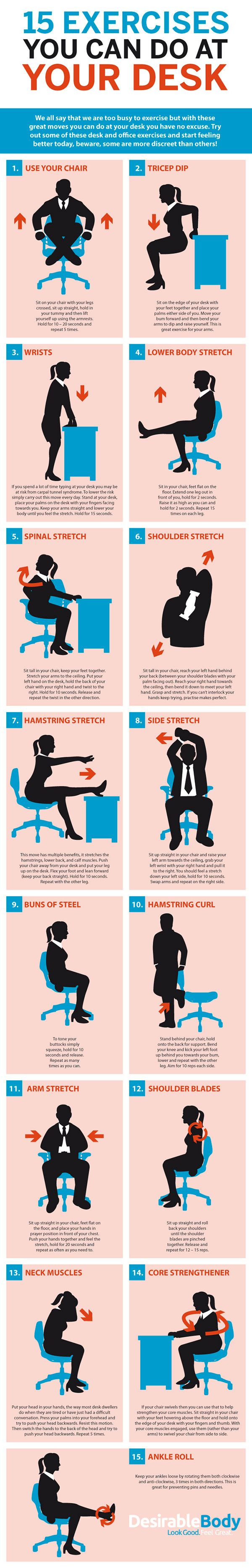 this graphic shows bunch of desk based exercises for the office rh pinterest com