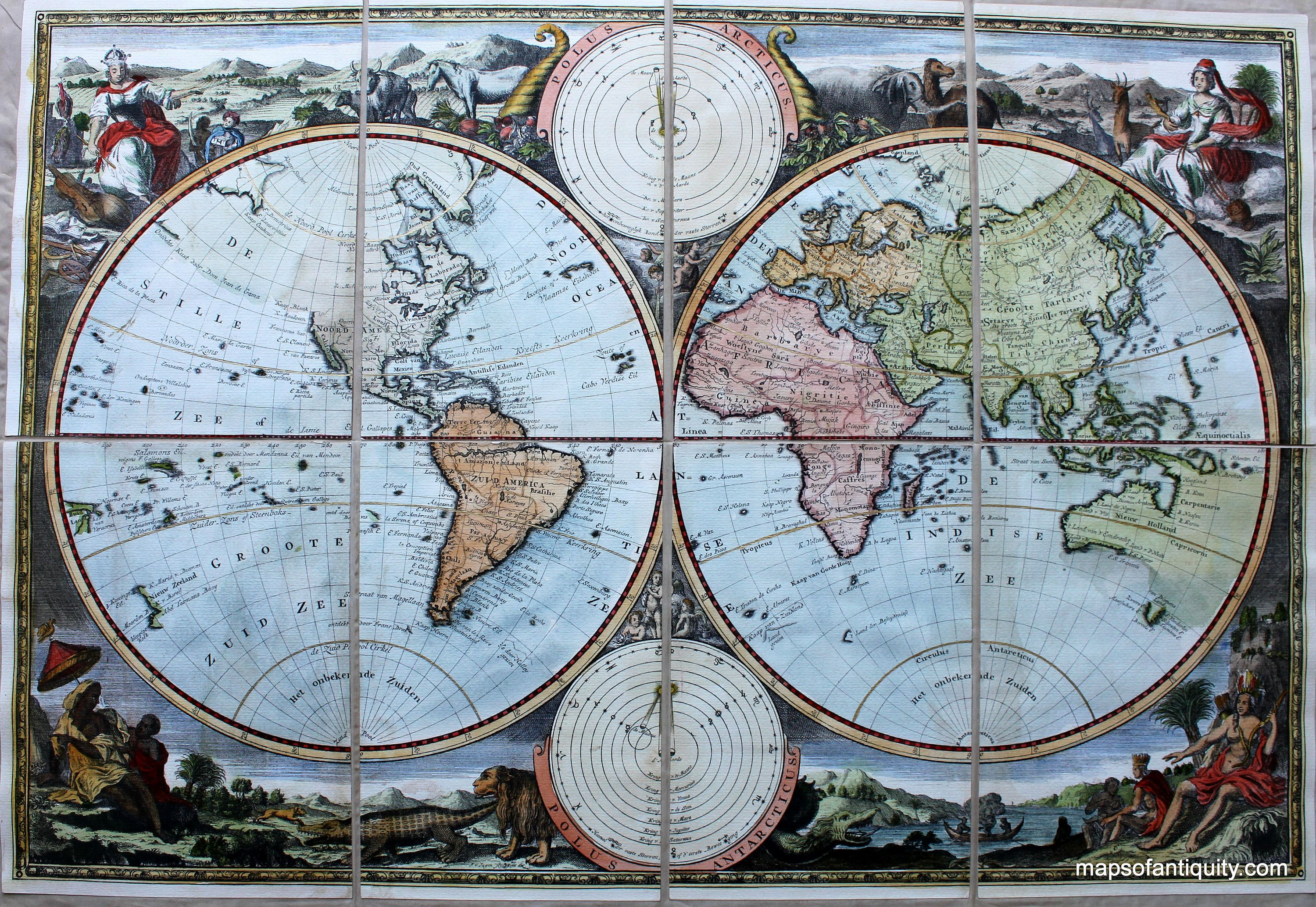 Mounted World Map.This Reproduction World Map Mounted On Cloth Has A Few Map Monsters