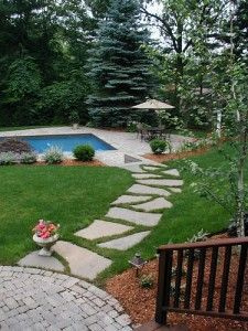 Flagstone Walkway Leading To Pool