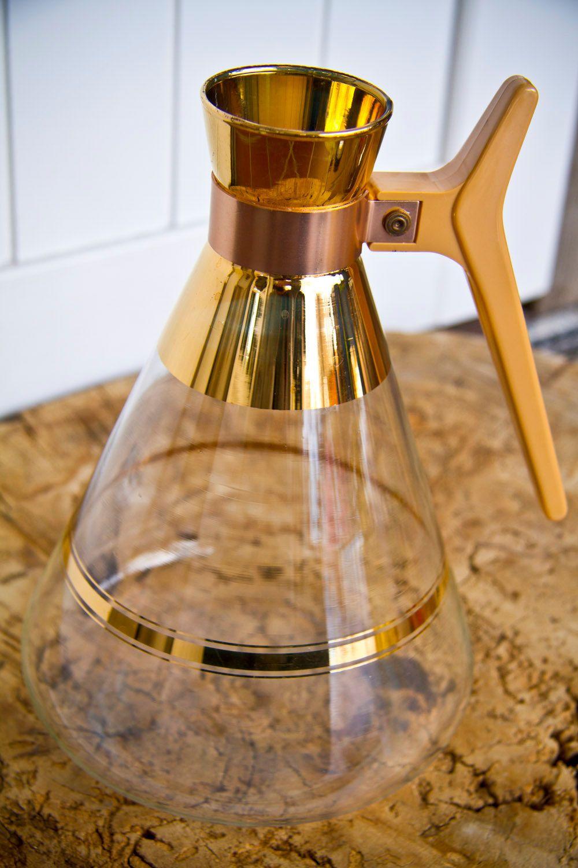 vintage glass coffee carafe pitcher 22karat gold 11 50 via etsy coffee carafe coffee on kitchen decor pitchers carafes id=21123