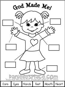 free christian coloring pages and crafts   God Made Me Girl Printable from www.daniellesplace.com ...