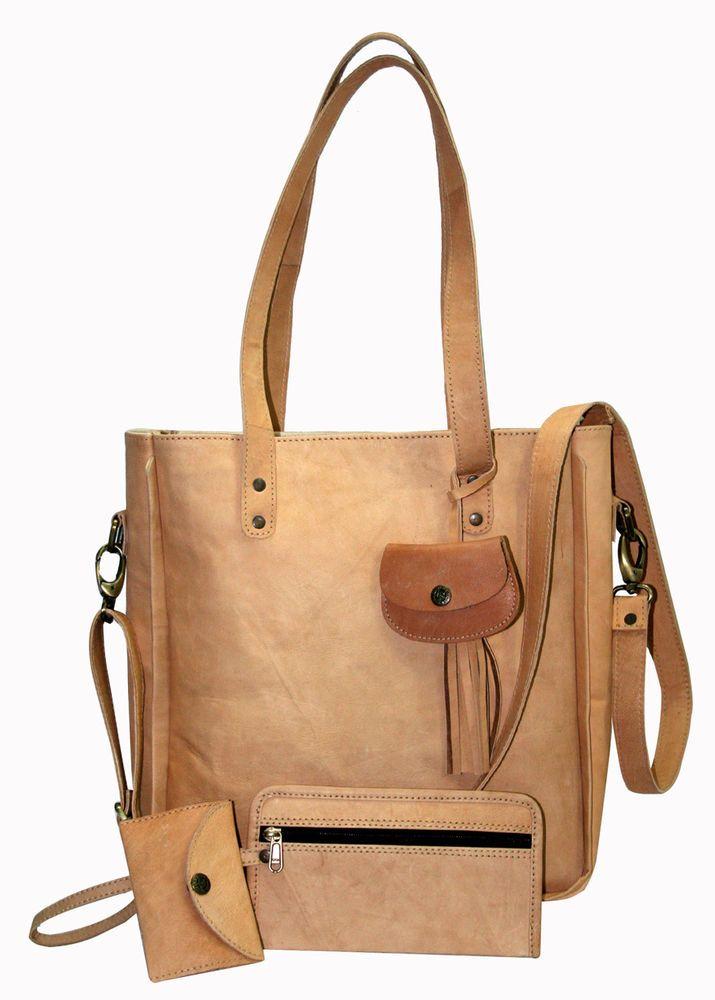 de146669f1 Vintage Women 4 Pcs Set Leather Handbag Lady Shoulder Bags Tote Purse  Messenger  Handmade  BeachBagBucketBagCosmeticBagCrossbodyEveningBag