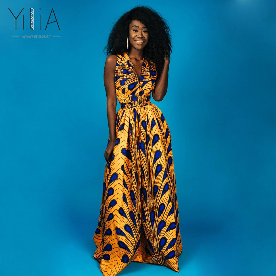 9597490f8e6 Yilia Popular Long Maxi Infinity Summer 2018 Women Dress Feather African  Print Clothing Casual Sexy A Line Fashion Beach Dresses