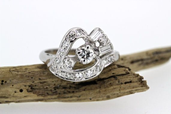 Antique Heart Ring  Diamond Cocktail by FergusonsFineJewelry
