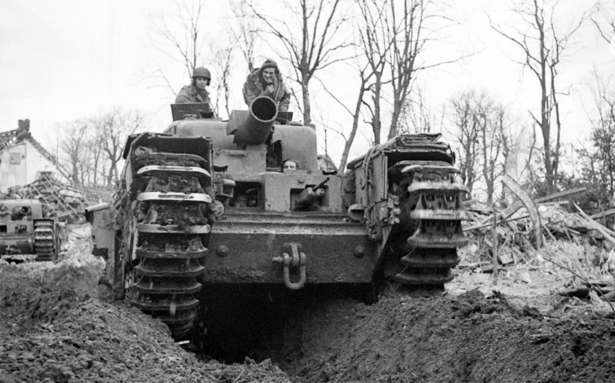 A Churchill AVRE with Spigot mortar in Kleve, Germany, February 1945.