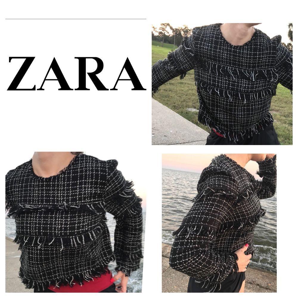 Womens ZARA WOMAN Black & White Tweed Pull Over Shirt Size