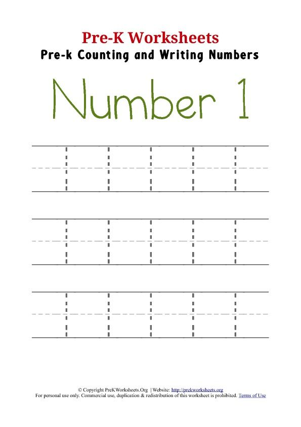 Number 1 Preschool Worksheet Writing Numbers Tracing Worksheets
