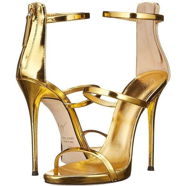 ab4e0f6f60cea Giuseppe Zanotti Three Strap Sandal (Gold) Women's Dress Sandals ($845) ❤  liked on Polyvore featuring shoes, sandals, open toe sandals, dress sandals,  ...