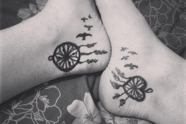 Dream Catcher Foot Tattoo Design