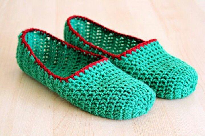 Slippers Crochet Pinterest Crochet Crocheted Slippers And