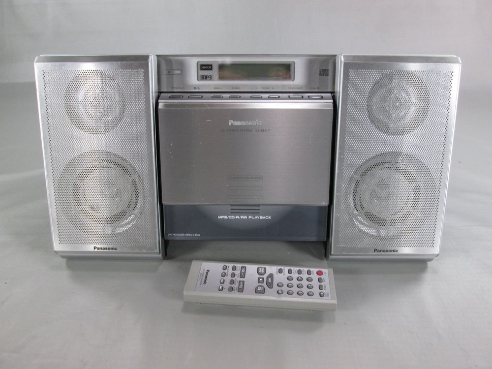Panasonic SA EN17 CD MP3 AM FM Bookshelf System W Remote Works Great PANASONIC