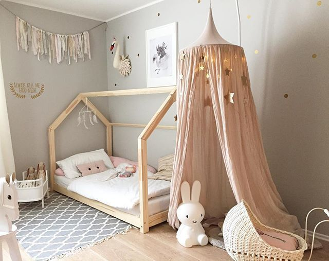 blush and grey girl's room. in 2019