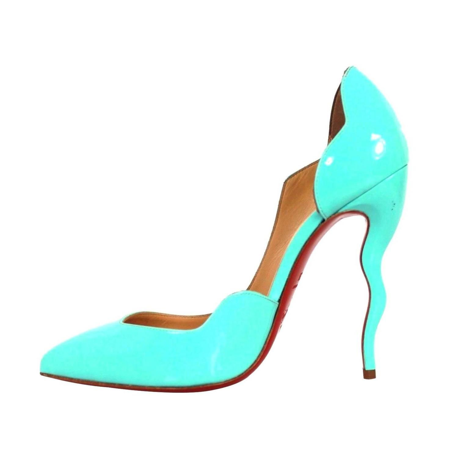 0e3ffe6ceb1 ... low cost christian louboutin blue patent leather scalloped asymmetrical  dalida pumps from a collection of rare