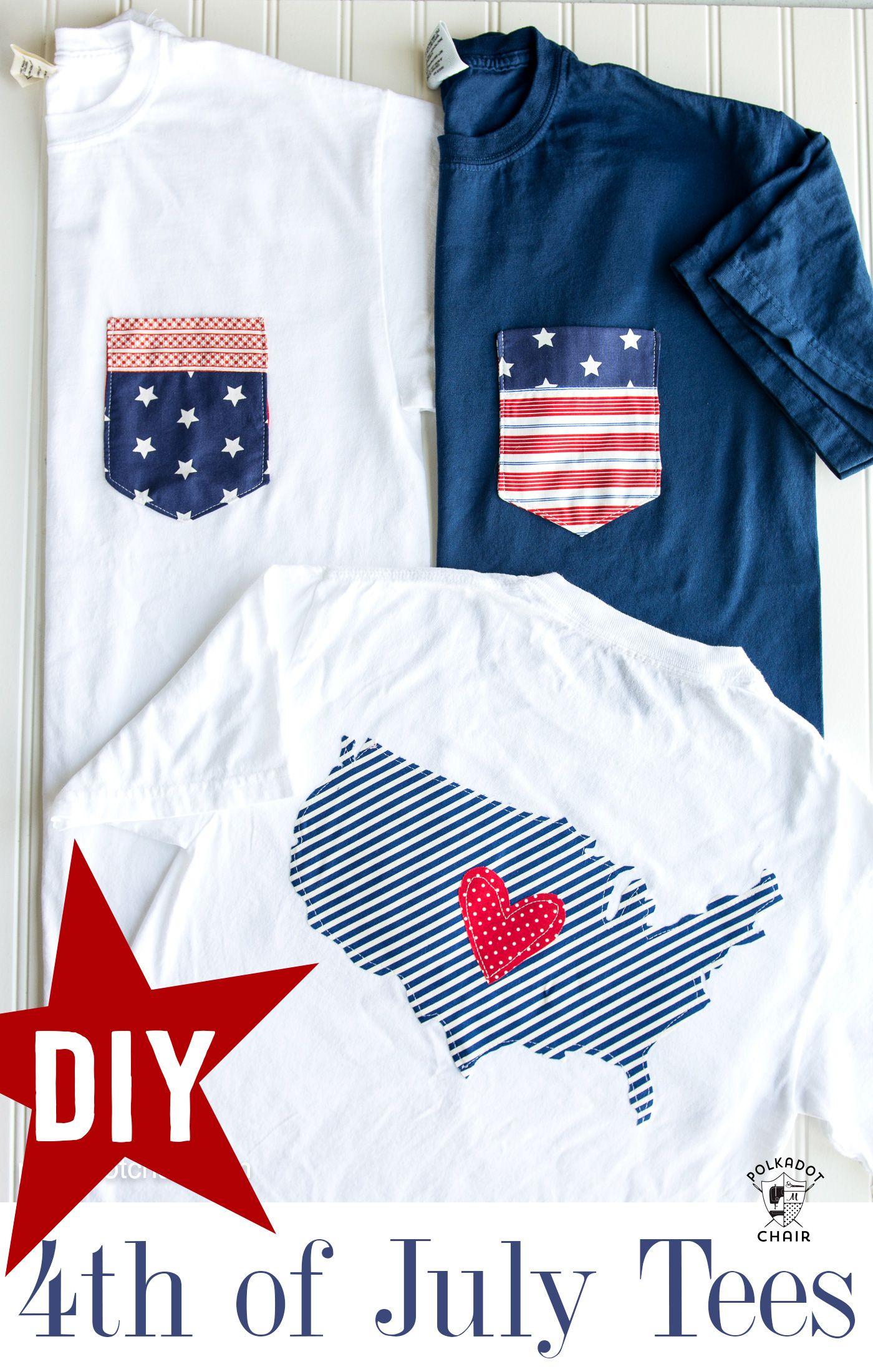 DIY Pocket 4th of July Shirts on polkadotchair.com