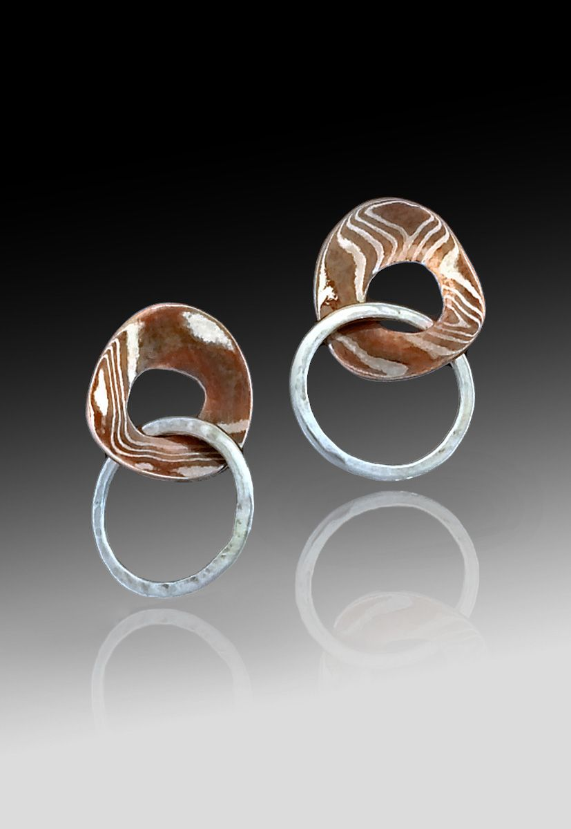Baby Mokume Gane Corona Earrings w Hoop by Richard Lindsay Designs