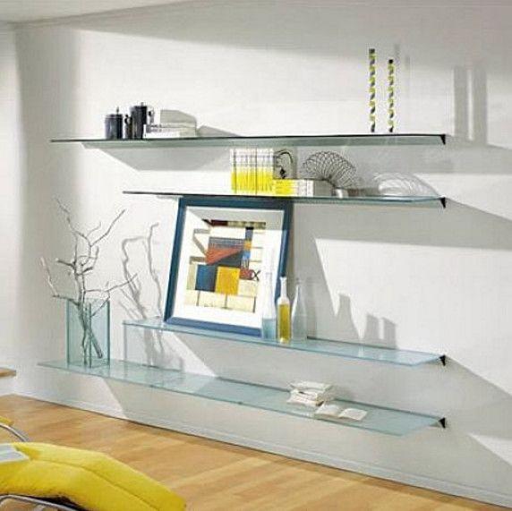Wall Mounted Glass Shelves Single Shelf Mount For Living ...