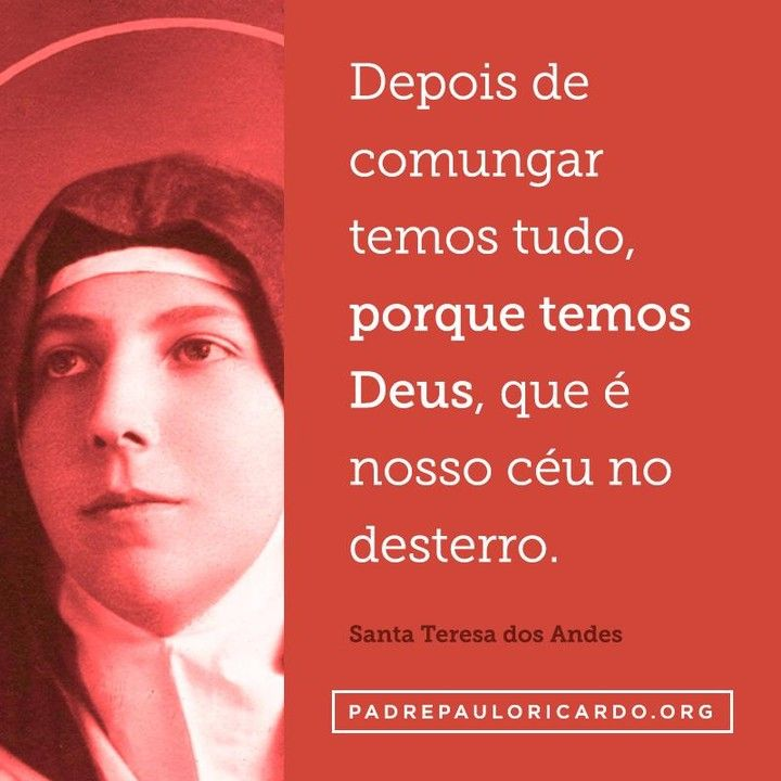 Santa Teresa Dos Andes Frases Depois De Comungar Temos Tudo