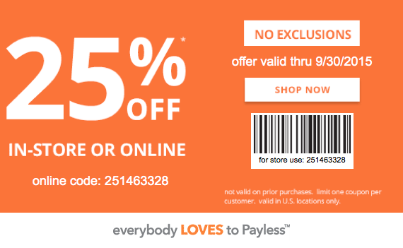 photo about Payless Shoes Printable Coupon identify Payless Footwear Printable Coupon: Attain 25% Off your invest in
