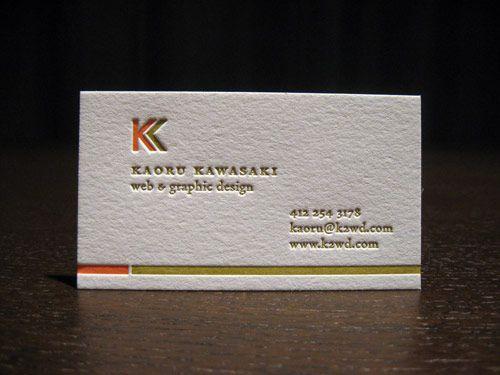 Letterpress Business Cards For Kaoru Kawasaki  Visit Card
