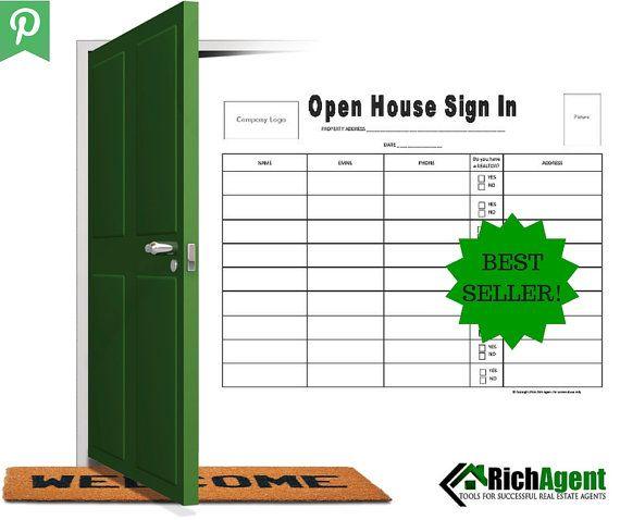 Open House Sign In Sheet Pinterest Open house signs, House signs - visitor sign in sheet template