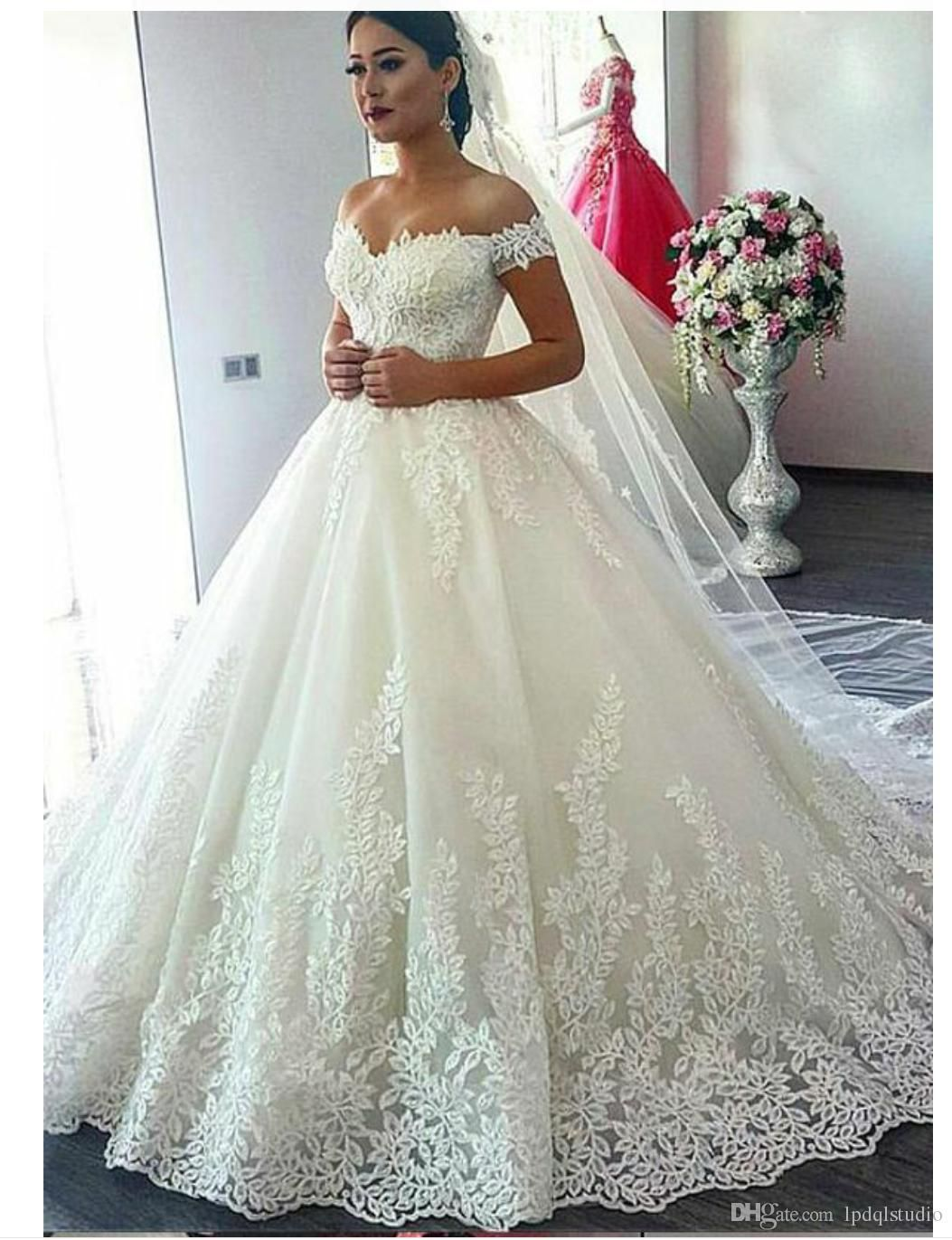 1521d83a84b Sexy Off the Shoulder Ball Gown Wedding Dress Floral Applique with Sequins  Zipper Back Sweep Train Plus Size Wedding Dresses Bridal Gowns Wedding Dress  ...