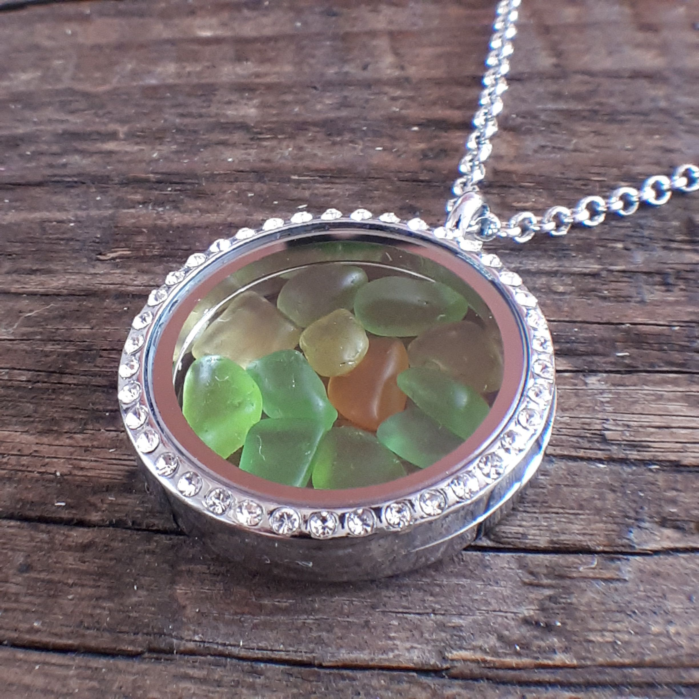 Photo of Mermaid tears floating locket necklace, Rare unique beach glass jewelry for ocean lovers