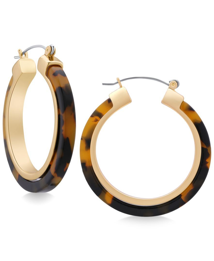 d17d71a3313f Guess Gold-Tone Faux Tortoiseshell Hoop Earrings