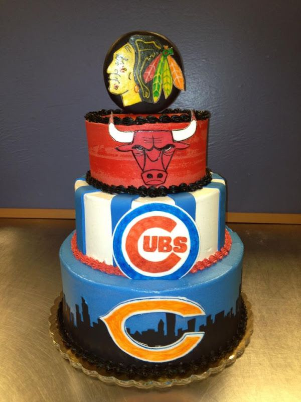 Terrific Chicago Sports 3 Tier Cake 175 With Images Chicago Sports Personalised Birthday Cards Petedlily Jamesorg