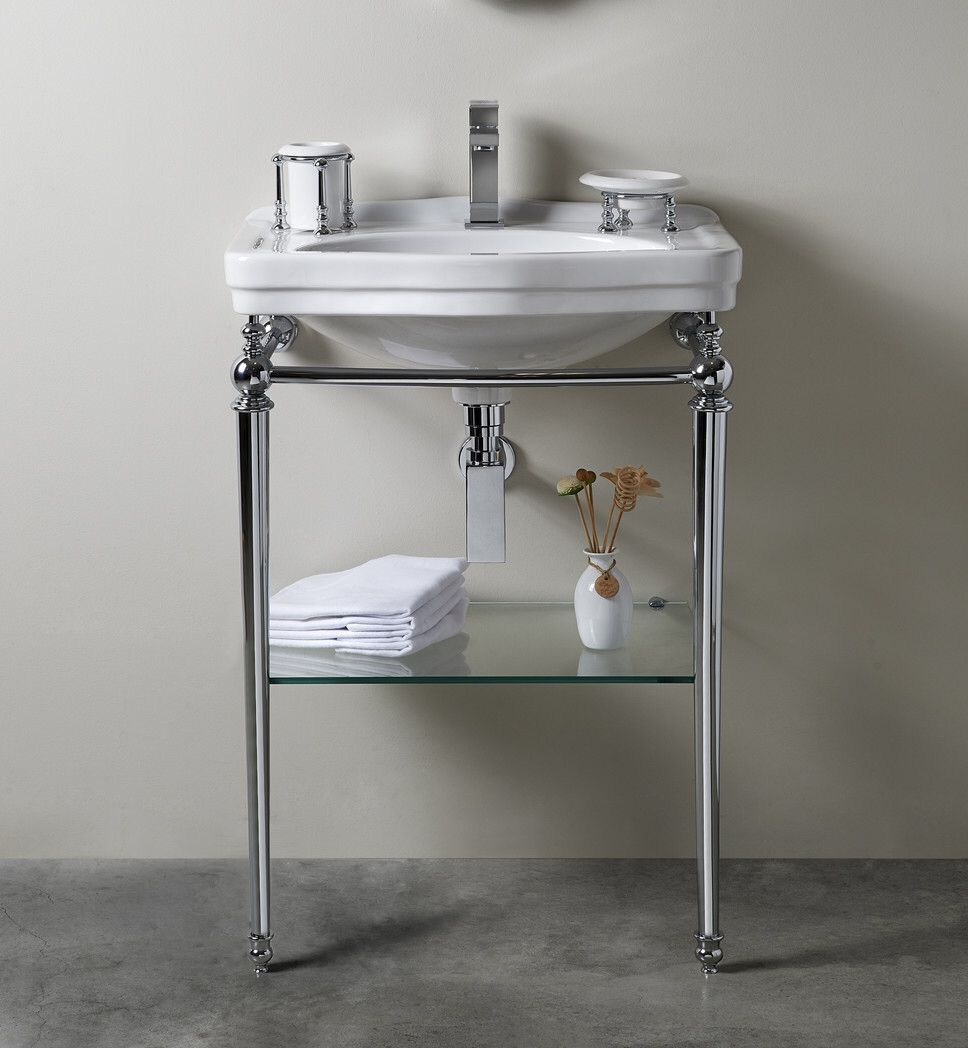 Florian Londra Console Table Bathroom Sink with Towel Bar and
