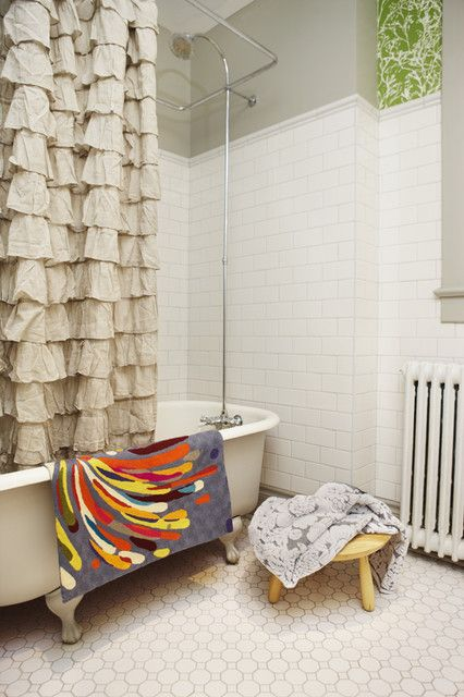 Charming Cream Ruffle Shower Curtain Design At Contemporary Bathroom With White Bath Tub And Wooden Stool