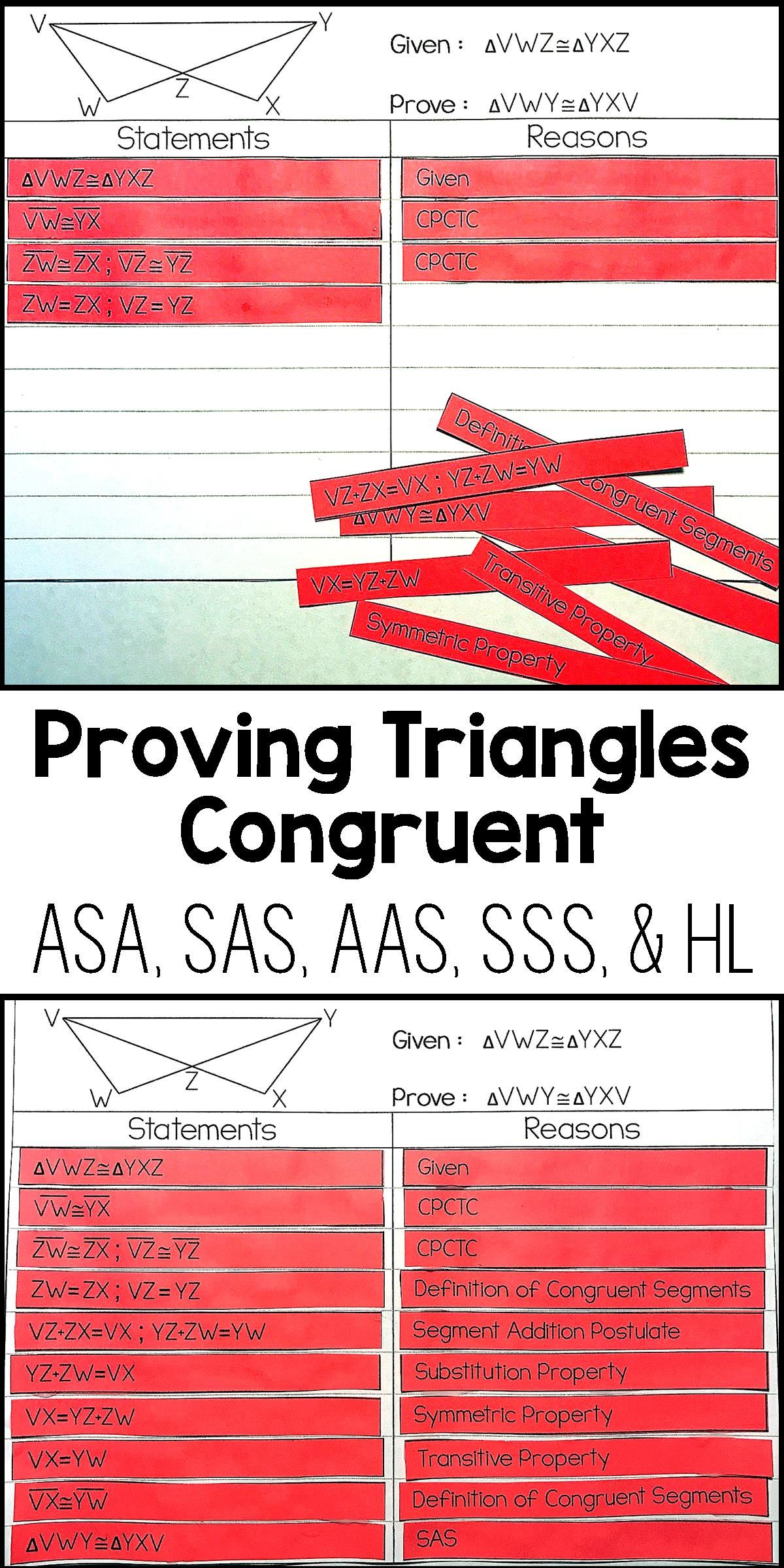 Proving Triangles Congruent Proof Activity Geometry